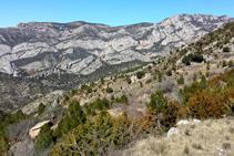 Les cingleres de la Roca de Perles i la Roca de Galliner vistes des de prop del pla de Guilla (fora d´itinerari).