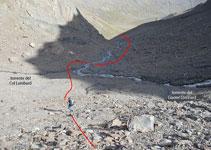 Zona on s´uneixen el torrent que ve de la glacera Lombard i el que ve del coll Lombard.
