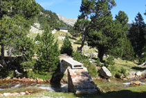 Infraestructura i pont per creuar el riu de Llubriqueto, al fons la cabana.