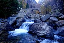 El pont de Cremal vist des de la llera del riu Núria.