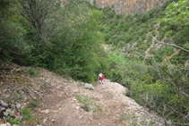 Baixant cap al fons del barranc per un tram força dret i amb moltes pedres.