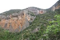 Vista del desnivell que haurem de superar per pujar fins al coll del Serrat Pedregós després de creuar el riu.