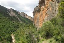 Vistes al NO del barranc del Bosc i curioses coves al fons.