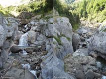 El riu Cinca agafa embranzida al curs mig del barranc de Los Churros, vist aquí des del pont que el travessa.