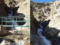 Vistes del pont i del segon nivell de la cascada del Cinca.