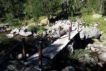 Creuem el riu d´Aiguamòg per un pont de fusta.