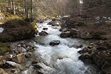 El desglaç de la primavera fa que el riu d´Aspe baixi cabalós durant aquesta època de l´any.