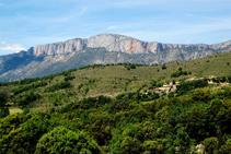 Acostant-nos a Castellet amb la serra de Sant Gervàs al fons.