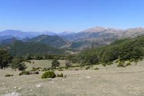 Mirada enrere des dels Rasos dels Camps. Al fons podem distingir les muntanyes del Berguedà (amb el Pedraforca).