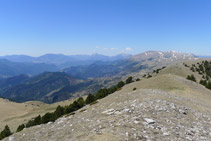 Vistes cap a la vall de Ribes, serra Cavallera i el Taga.