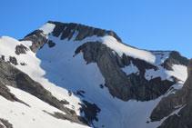 Pic Posets. A l´esquerra del pic: final de la cresta d´Espases. A la dreta del pic: via normal d´ascens al Posets.
