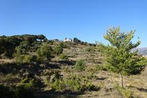 Arribant al turó de Santa Bàrbara de Pruneres.