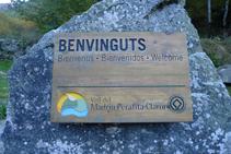 Cartell del Parc Natural de la Vall del Madriu-Perafita-Claror que ens trobem a l´inici de la ruta.