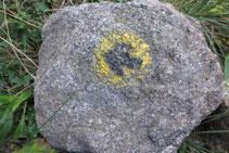 Senyal de pintura groga i negre en una roca.