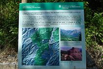 Panell explicatiu de l´Espai Natural i Protegit de la serra d´Aubenç i Roc de Cogul.