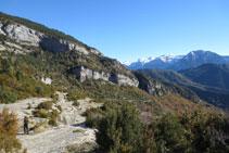 Baixem per entre algunes terrasses naturals que fa la muntanya.