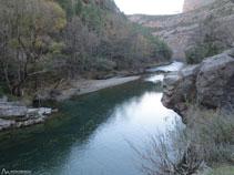 Riu Noguera Pallaresa amb la tirolina per travessar el riu.