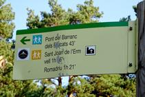 Inici de la ruta pels boscos de Sant Joan de l´Erm.