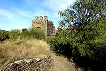 Antiga torre defensiva sortint de la Selva de Mar.