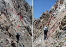 Escapatòria del Pas del Cavall per la vessant S. Caldrà extremar l´atenció ja que la roca està una mica descomposta.