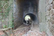 El túnel metàl·lic sota la C-26 és l´inici de l´itinerari botànic i un punt de pas obligat.