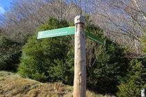 Cartell indicatiu al Puigsacalm pel Pas dels Burros o pel Puig dels Llops.