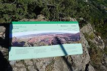 Un panell ens ajuda a identificar les muntanyes de l´entorn.