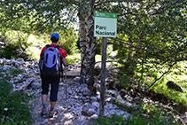 Entrem estrictament a l´interior del Parc Nacional (senyal).