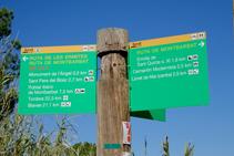 Cartell indicatiu de la ruta de les Ermites.