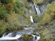 Les dues cascades del Saut deth Pish: l´inferior i més petita i la superior, la més gran.