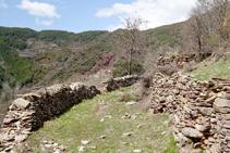 Camí entre murs arribant a Mencui.