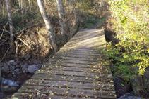 Creuem el riu del Cantó per un pont de fusta.