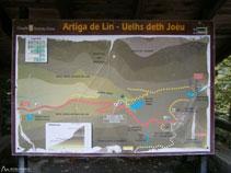 Un panell explicatiu situat al costat de l´aparcament ens permet situar-nos i estudiar la ruta que farem.