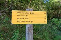 Senyalització vertical indicant-nos els temps d´accés a diferents localitzacions dins de la vall de Géla.
