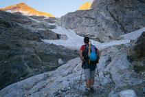 Arribant a la base de la glacera.