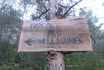 Indicador del trencall del mirador de la Roca de Llagunes.