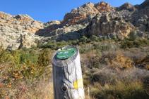 Una estaca de fusta amb un senyal groc ens indica el camí.