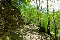 Parets de pedra seca al camí d´Arnui.
