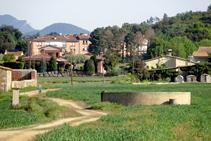 La bassa de Can Xifra. Al fons, Sant Dalmai.